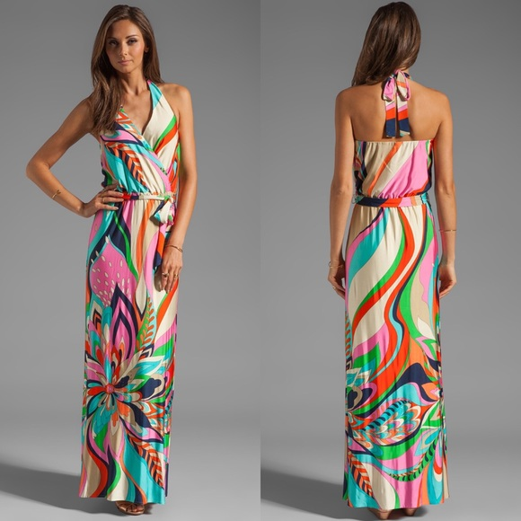 129da590e9 Trina Turk Surfside Swirl Jersey Halter Maxi Dress.  M 5c809820819e902d9e330a30